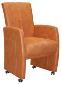 HAVANA | Luxe stoel met armleggers op wielen leverbaar in stof , leder look of leer .            Profiteer nu van de actie prijs