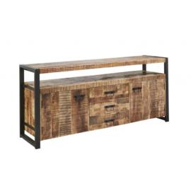 SOHOTO dressoir 215 cm breed duurzaam Mango hout met zwart metaal frame Voor een lage actie prijs