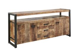 LAHORE dressoir 180 cm breed duurzaaam MASSIEF Mango hout met zwart metaal frame        Voor een lage actie prijs