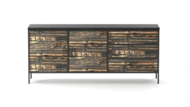 MALIBU COLLECTION - BLACK DRESSER WITH 2 DOORS 3 DRAWERS