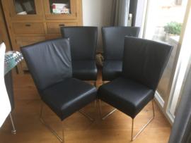 ROXY  | OPRUIMING 4 stoelen   geheel met leer bekleed een N.L. product