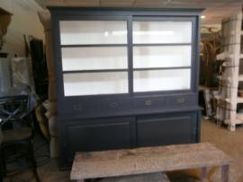 Buffet/vitrinekasten model 204 Grijs/Antraciet landelijke met de hand geschilderd nu voor laagste prijs
