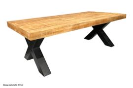 MANGO salontafel hardhout metaalonderstel 135 cm nu voor de laagste prijs