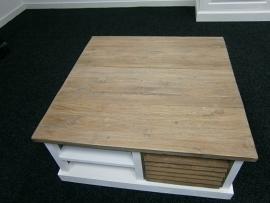 Louvre salontafel 4 kant Blad Prachtig TEAK 80 x 80 cm met wit voor de laagste prijs