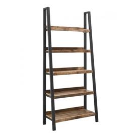 SOHOTO Robuust boekenrek in trapezevorm Mango hout met zwart metaal frame Voor een lage actie prijs