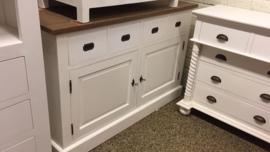 119 Landelijke  Dressoir 2 deuren+ 4 laden Klein dressoir 145 cm breed teakblad met white wash