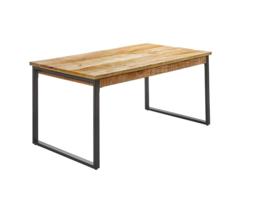 IRON Eettafel 160 cm Metaal met Mangohout  top model en in de actie