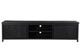 MMB014 Tv-meubel Cod Tv-Meubel 210 cm breed MANGO kleur zwart  met zwart metaal NU SPECIALE ACTIE PRIJS