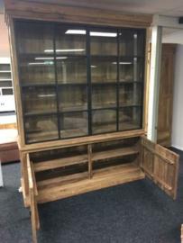 MMB010 Teak Vitrinekast 2 deurs metalendeuren Cabinet recyclend Teak  voor een actie prijs