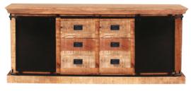 IRON dressoir 200 cm Metaal met Mangohout  top model en in de actie