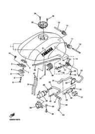 Benzineslang Yamaha FZS600 Fazer (1998-2003) van kraan naar pomp ..