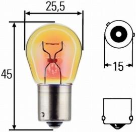 Lamp bj15 12v 21w Oranje (verzette pennen) (lamp079)