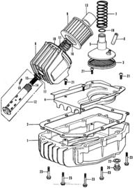 Oliefilter delen en Carter pan delen Honda CB350f 197.