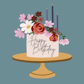 Verjaardagskaart - taart met bloemen