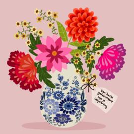Verjaardagskaart - Delfts blauwe vaas met bloemen