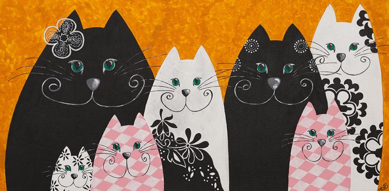 Schilderij   Golden katten