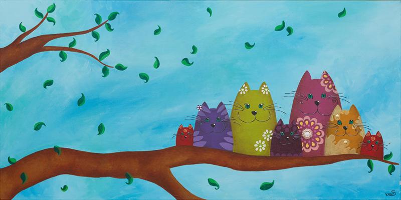 Schilderij   Nestkatten in de lente