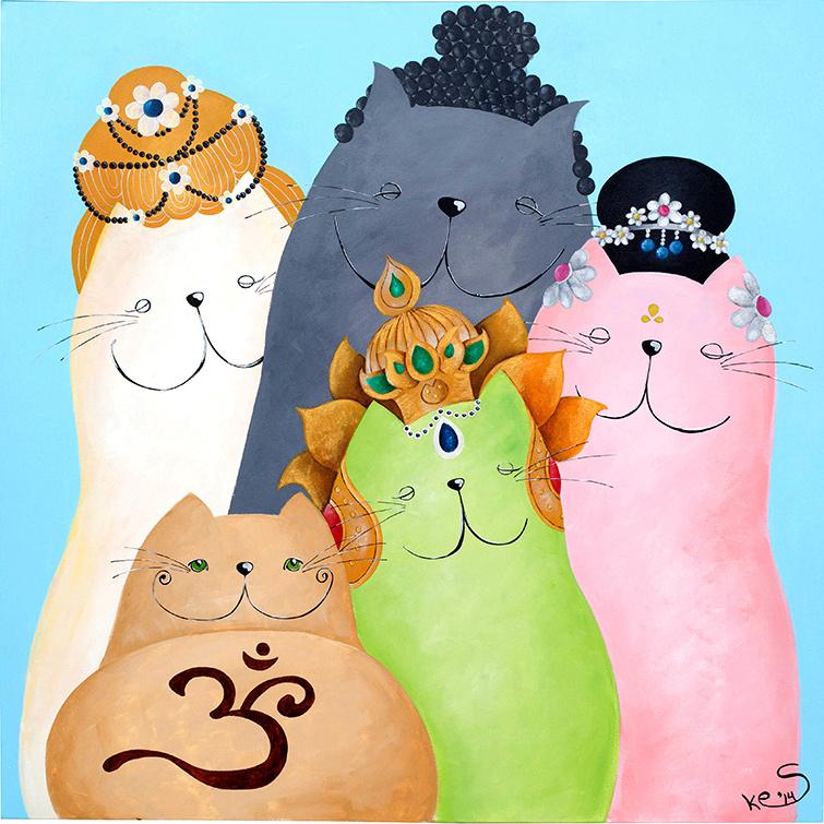 Schilderij | Boeddhistische katten
