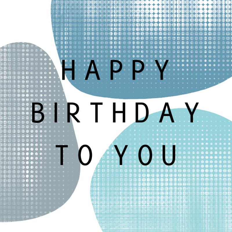 Verjaardagskaart blauwe vormen