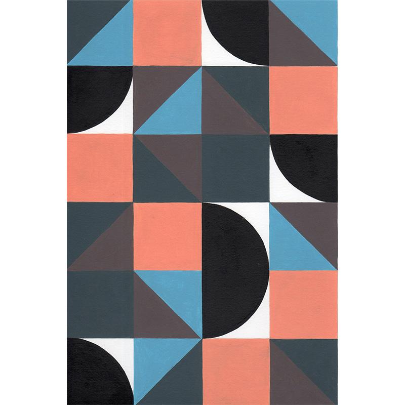 abstract   oranje blauw en zwart   nr 2