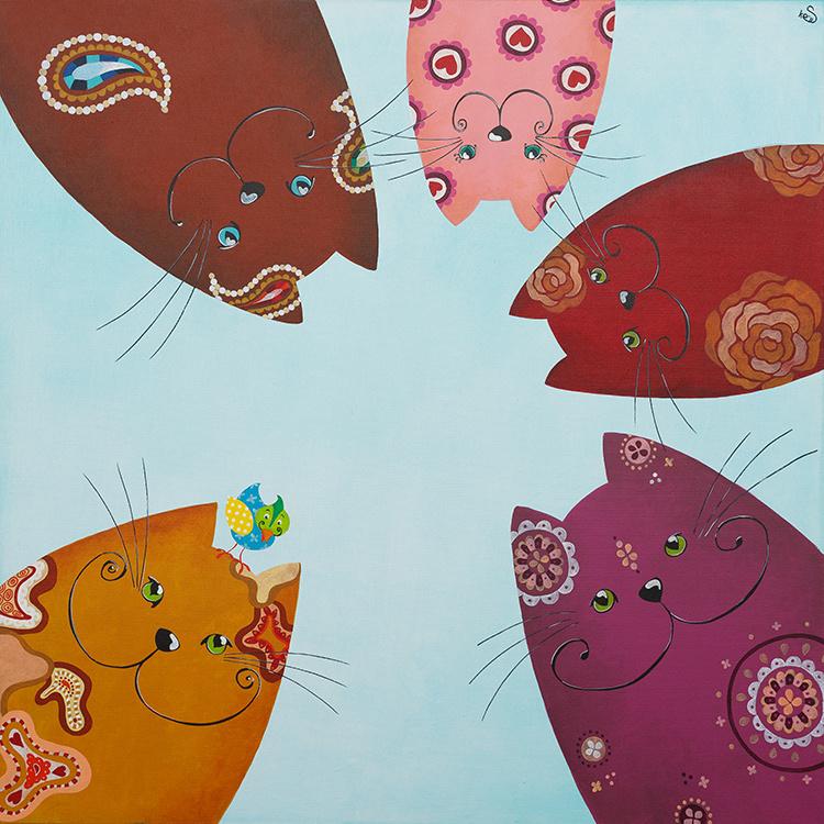Schilderij | Vrolijke katten