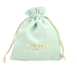"Sieraad zakje ""with love"" Mint green-gold"