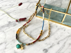 MBR ketting * Green stone/ gold star*