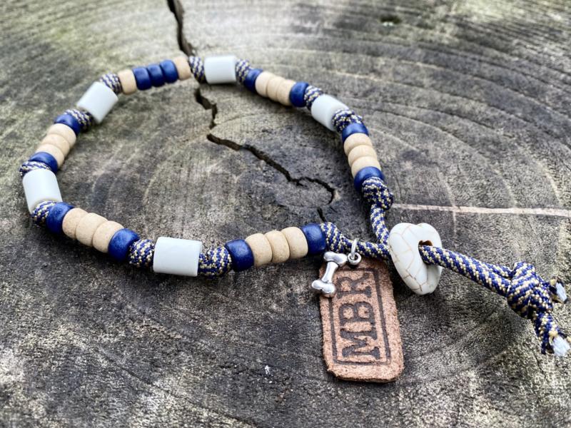 MBR necklace *Marine blauw, Goud Spiral*
