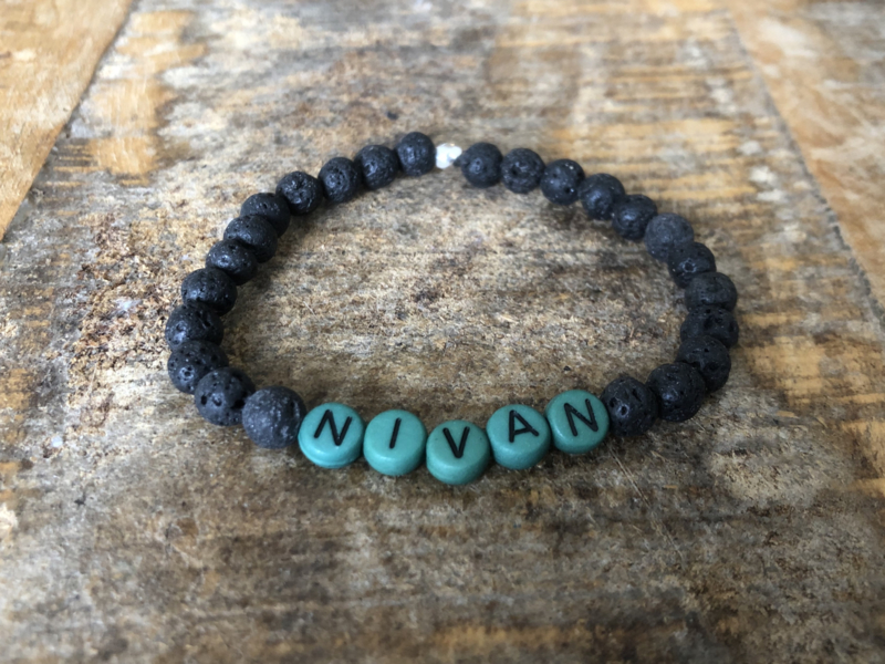 MBR MEN  Name Bracelet *Army green, Black lava*