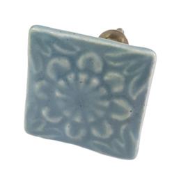 porseleinen deurknop vierkant grijs