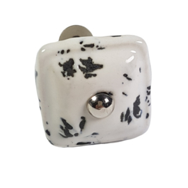 porseleinen deurknop wit vierkant square- wit