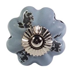 porseleinen deurknop grijs shabby chic-bloem