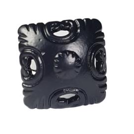 metalen kastknop zwart-vierkant
