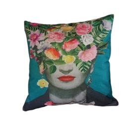 Frida Kahlo sierkussen-blauw