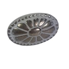 metalen knop ovaal grijs antiek