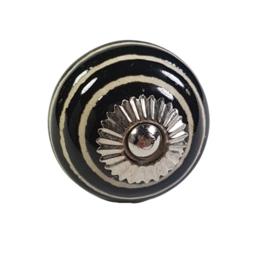 porseleinen kastknop twist-zwart
