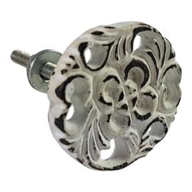 metalen brocante kastknop rond henna-wit