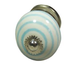 """porseleinen knop """"twist-blauw"""""""