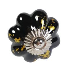 porseleinen kastknop goud met zwart