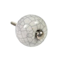 ronde kastknop brocante craquelé wit 25 mm
