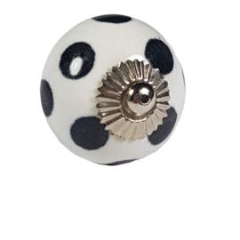 porseleinen deurknop wit met zwarte stip