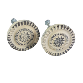 deurknop metaal rond wit MK 26/W