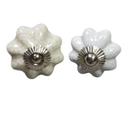 porseleinen deurknop brocante bloem craquelé-wit