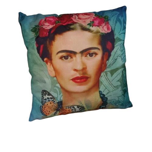 Frida Kahlo sierkussen-blauw-groen