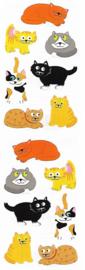 Gekleurde Poezen - 14 Stickers