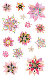 Fancy Flowers Glitter - 15 Stickers