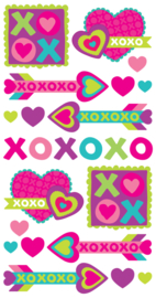 XOXOXO Glimmende Labels - 24 stickers