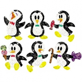 Pinguin Glitterstickers - 36 stickers