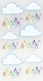 Regenboogwolken - 6 stickers