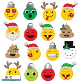 3D Winter Emoji Stickers - 16 stuks